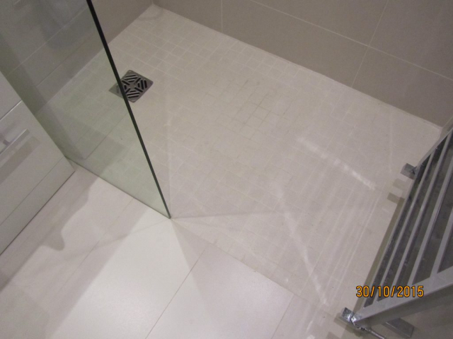 tiled walk in shower tray
